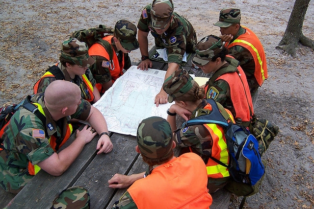 es cadets with map